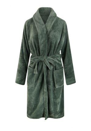 olijfgroene badjas van fleece
