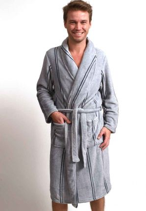 Grijze heren badjas met streepmotief