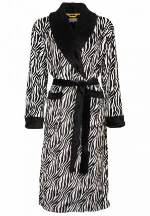 Zebra damesbadjas fleece
