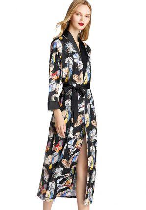satijnen kamerjas vlinders - kimono extra lang