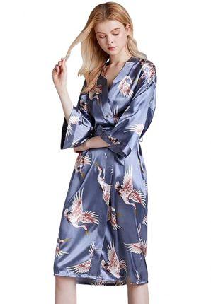 satijnen kimono vogel