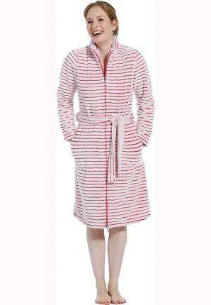 Rits badjas met roze strepen