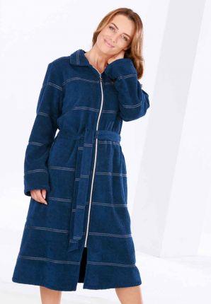 Lange badjas met rits - donkerblauw