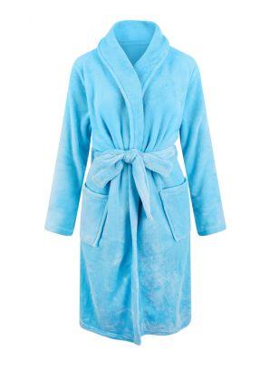 Lichtblauwe badjas fleece - unisex