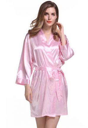 Satijnen kimono dames – licht roze