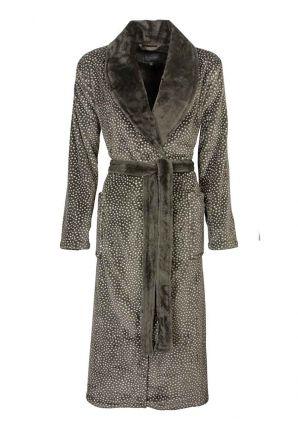 Grijze fleece badjas met witte bolletjes