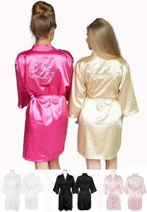 Satijnen badjas kimono met borduring