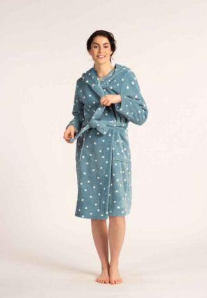 petrol blauwe dames badjas met stippen