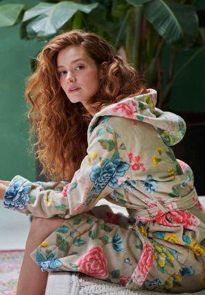 Khaki dames badjas bloemenprint - Pip Studio