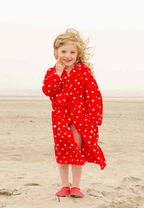 playshoes stippen badjas kind - rood