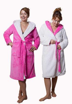 roze badjas omkeerbaar met sherpa voering