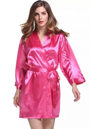 Satijnen kimono dames – donker roze