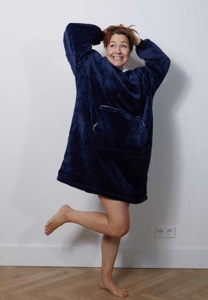 Snuggie met capuchon – fleece poncho marine