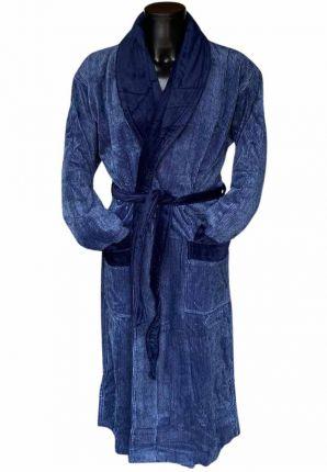 vandyck badjas heren velours katoen sauna sjaalkraag donkerblauw