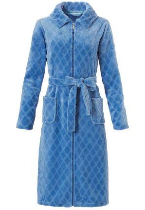 Lichtblauwe fleece badjas met rits - Pastunette
