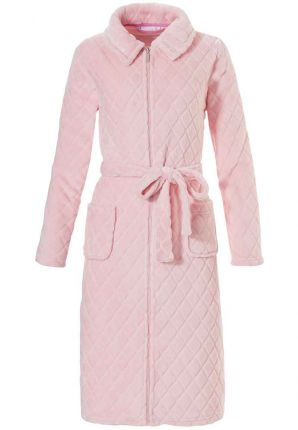 Lichtroze fleece badjas met rits – Pastunette