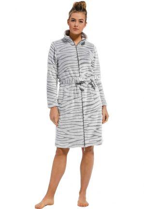 Licht grijze damesbadjas met rits - fleece