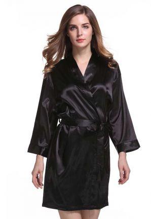 Satijnen kimono dames - zwart