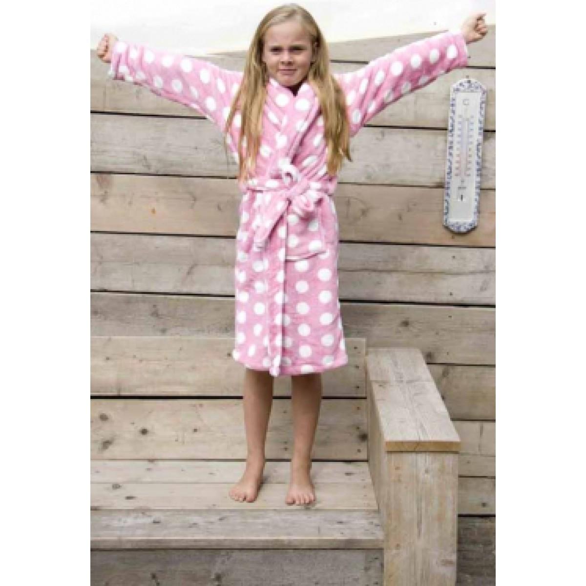 Roze kinderbadjas met stippen