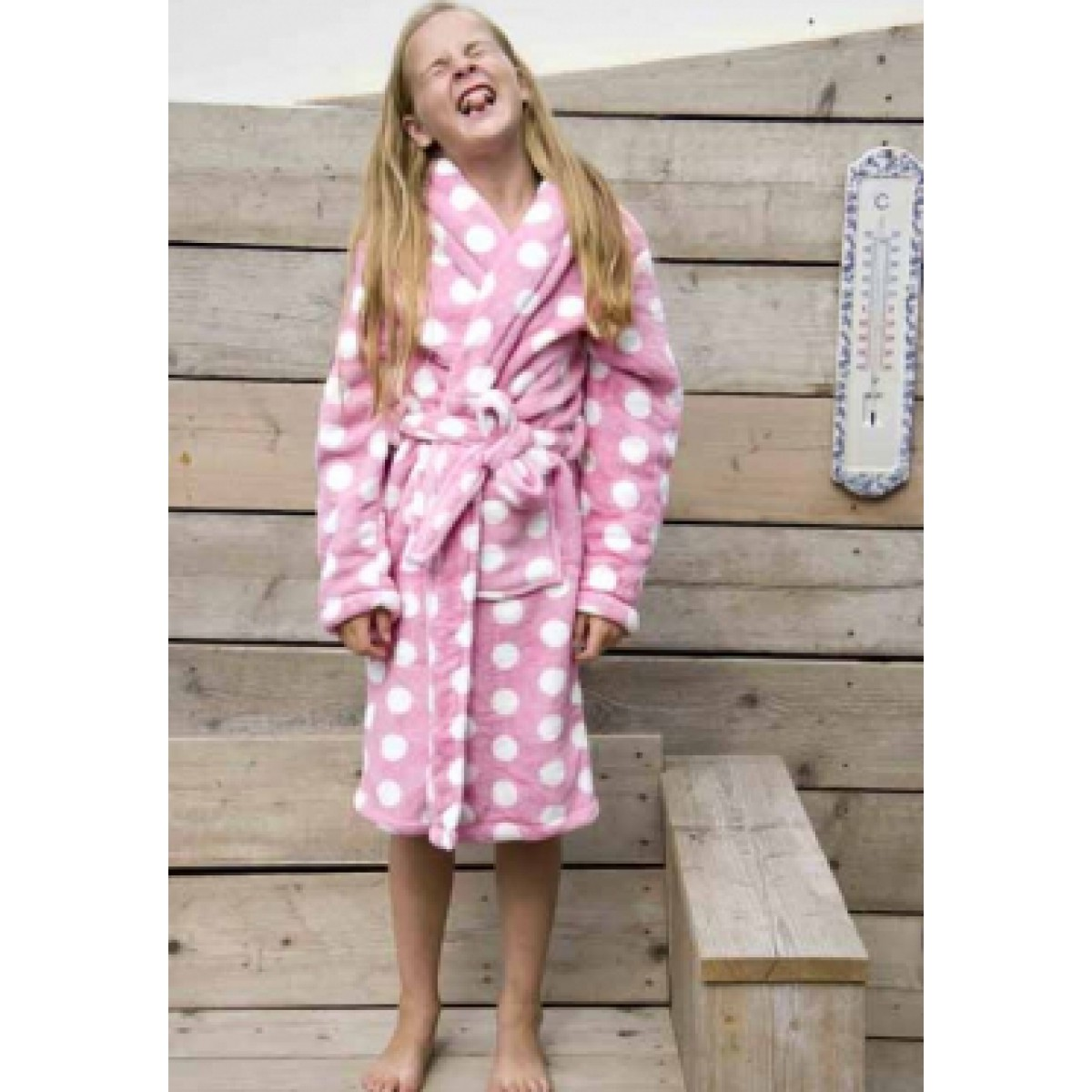 Kinderbadjas roze fleece