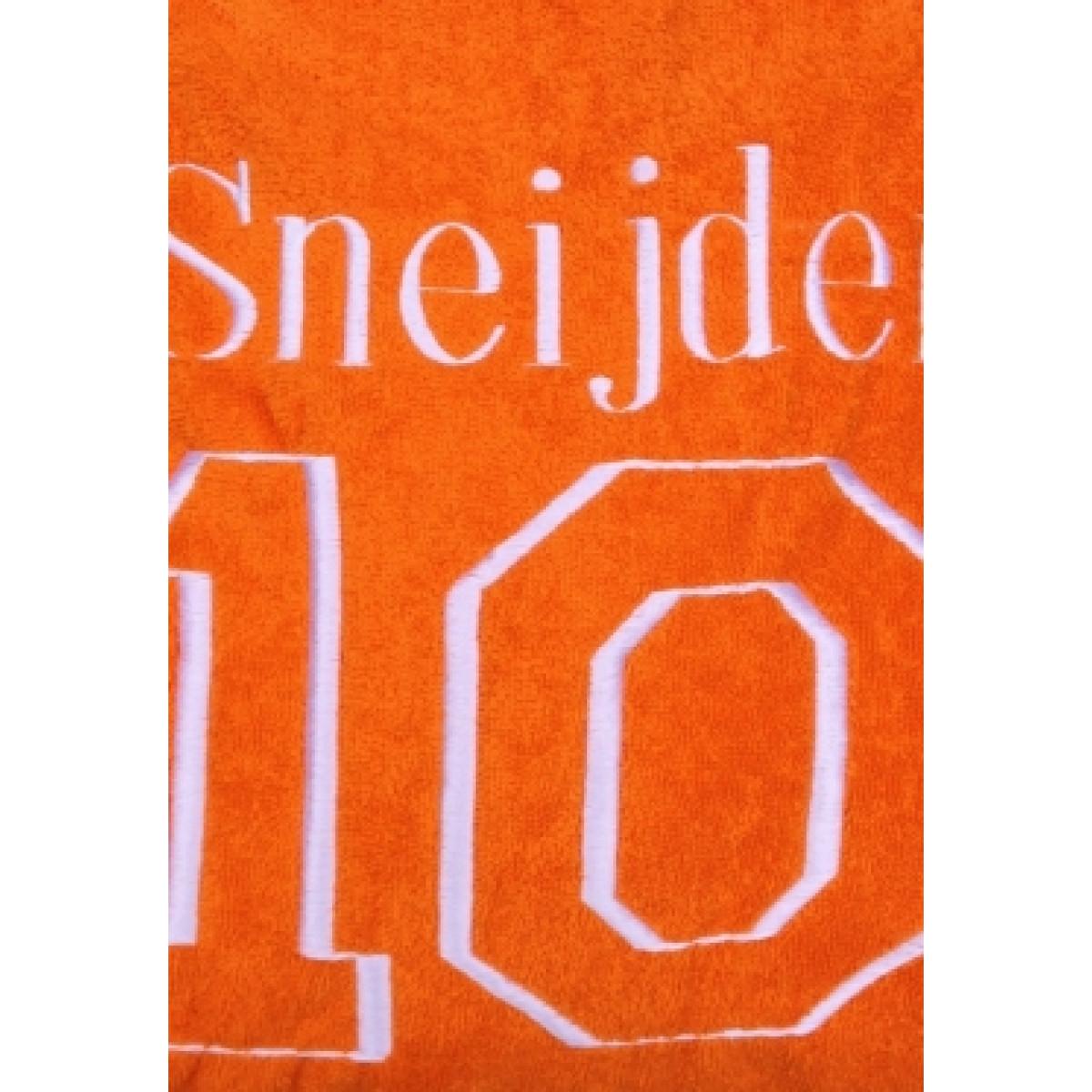 Oranje unisex badjas met rugnummer