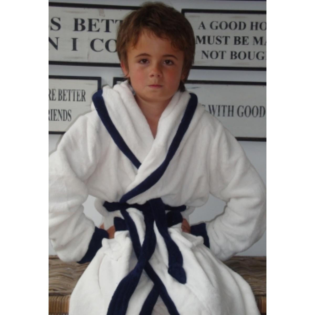 Little White-Blue badjas / Kinderbadjas met capuchon