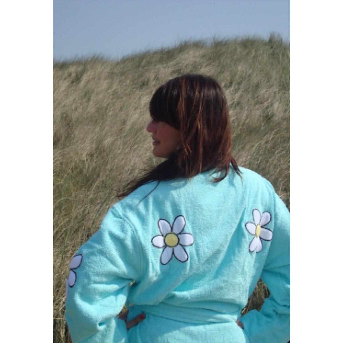 Blauwe damesbadjas met bloemen