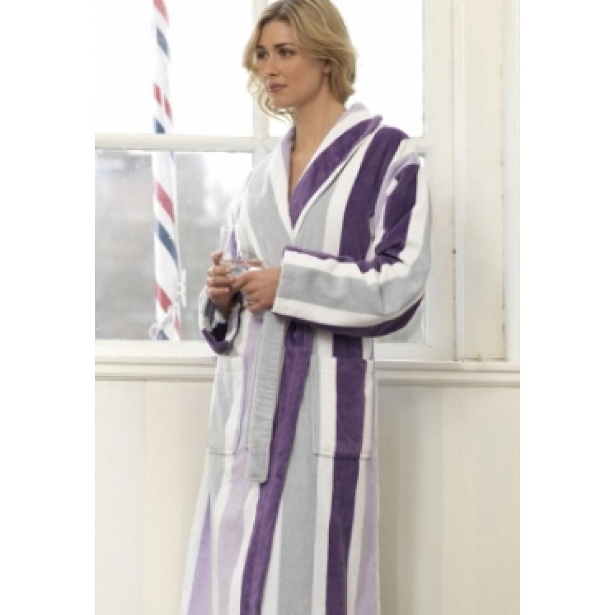 Badjas paarse streep / luxe sauna badjas