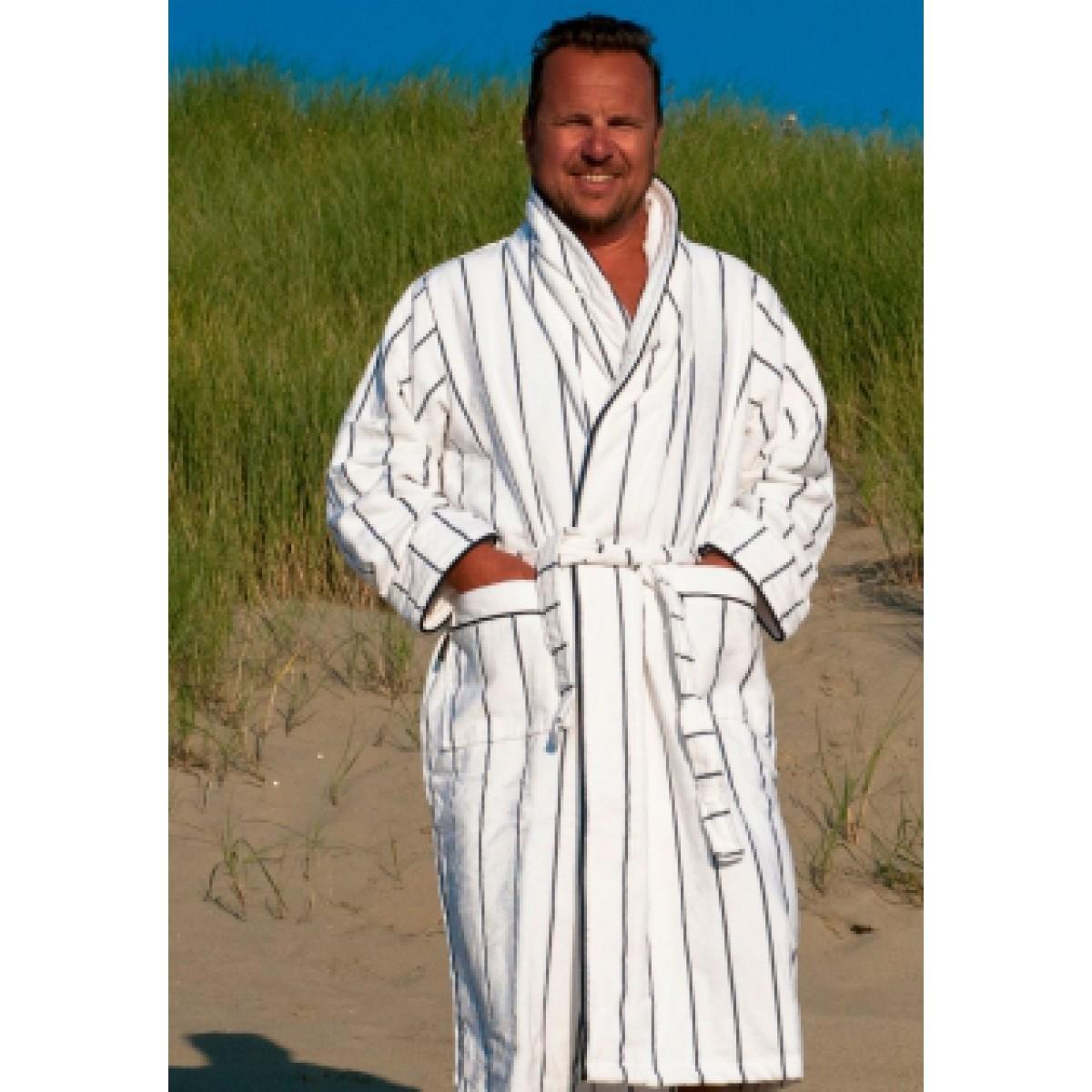 Witte badjas met streep