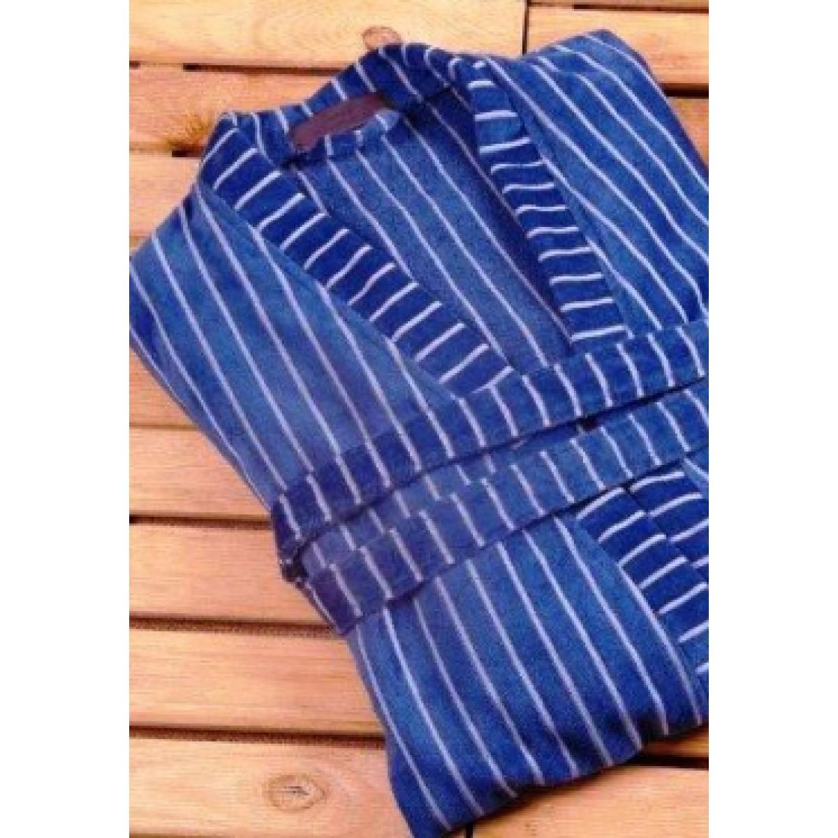 Blauwe badjas met streep