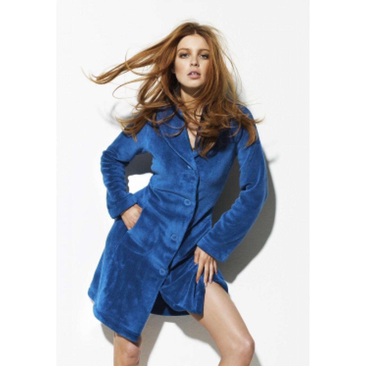 Woody badjas kobaltblauw