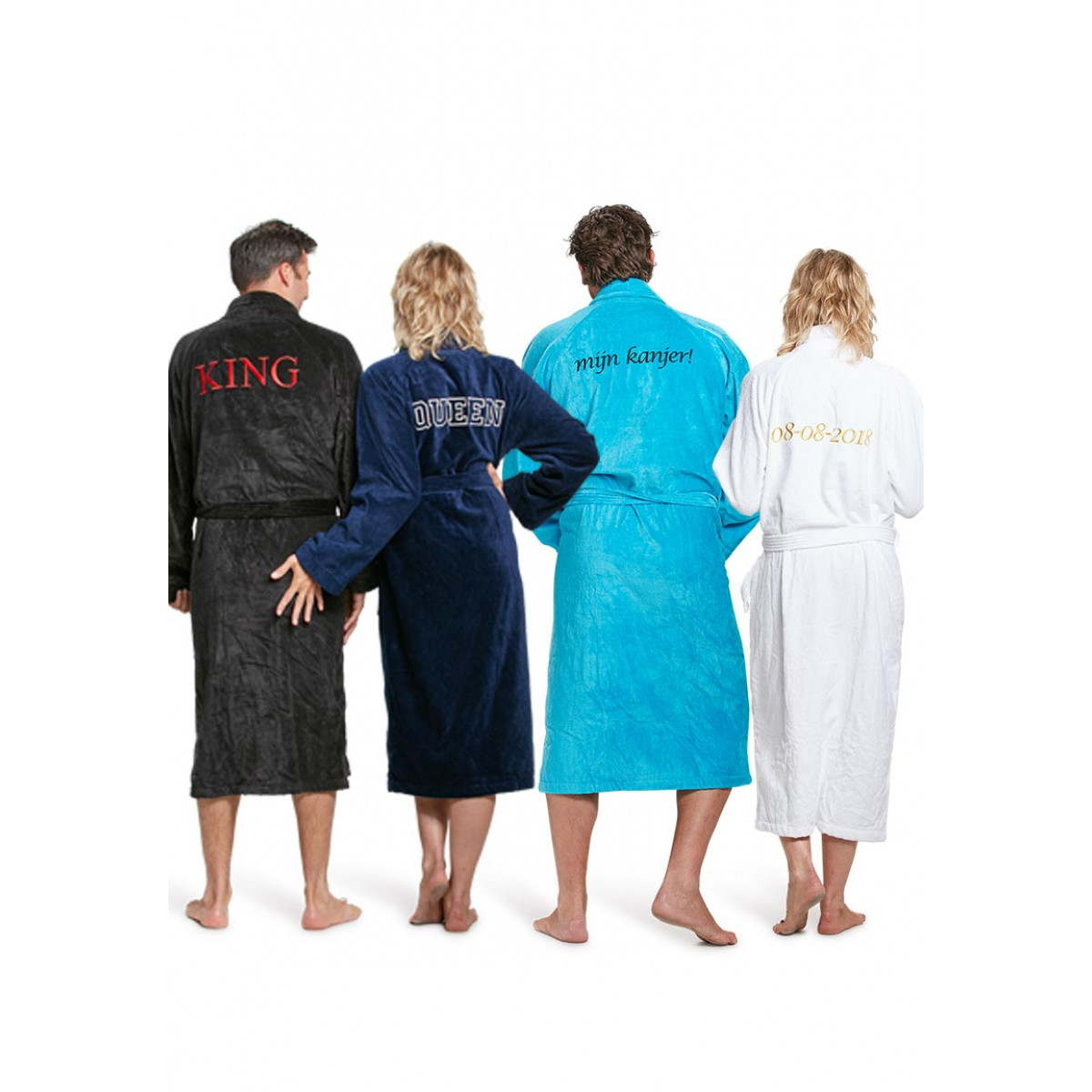 badjas borduren velours