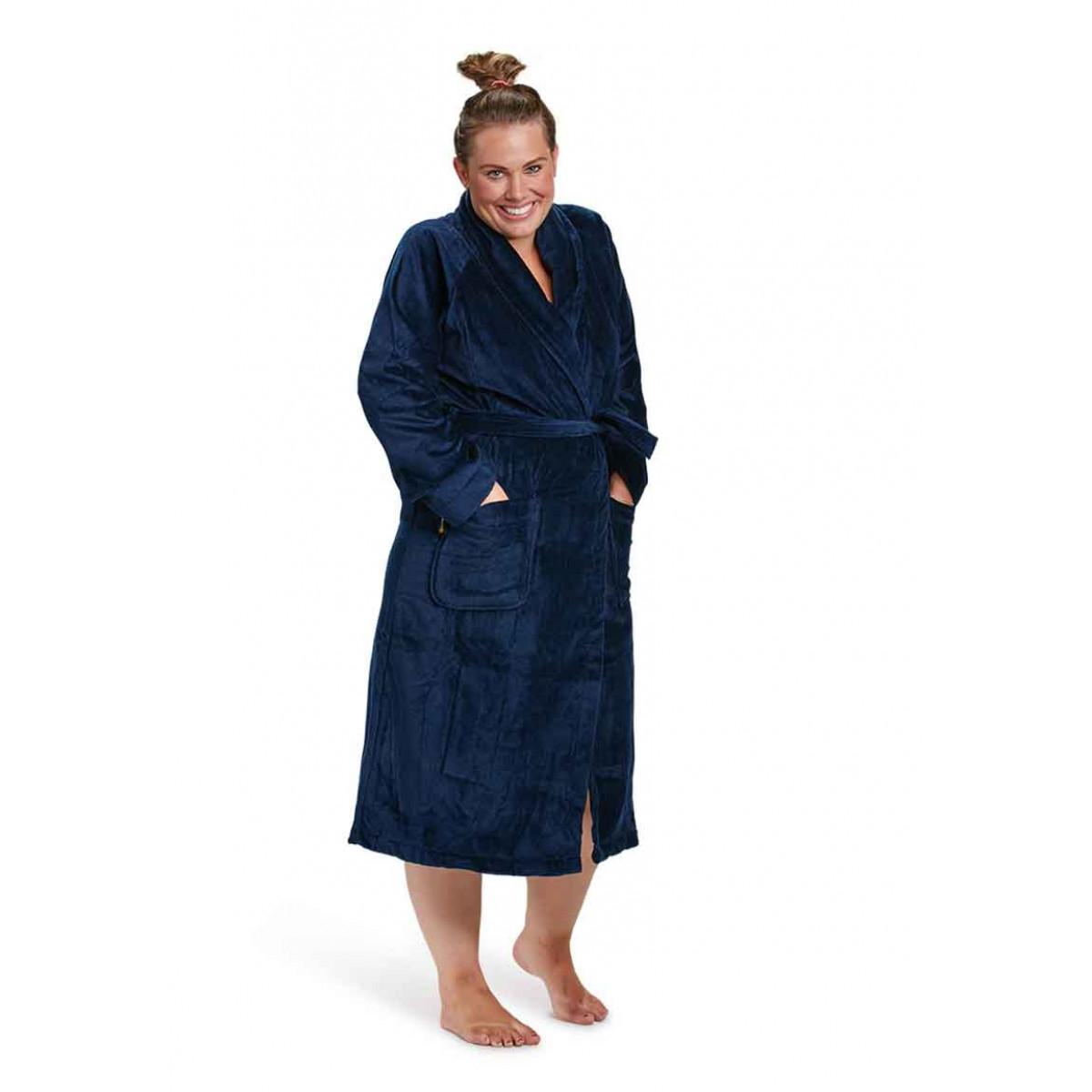 badjas dames marineblauw badrock
