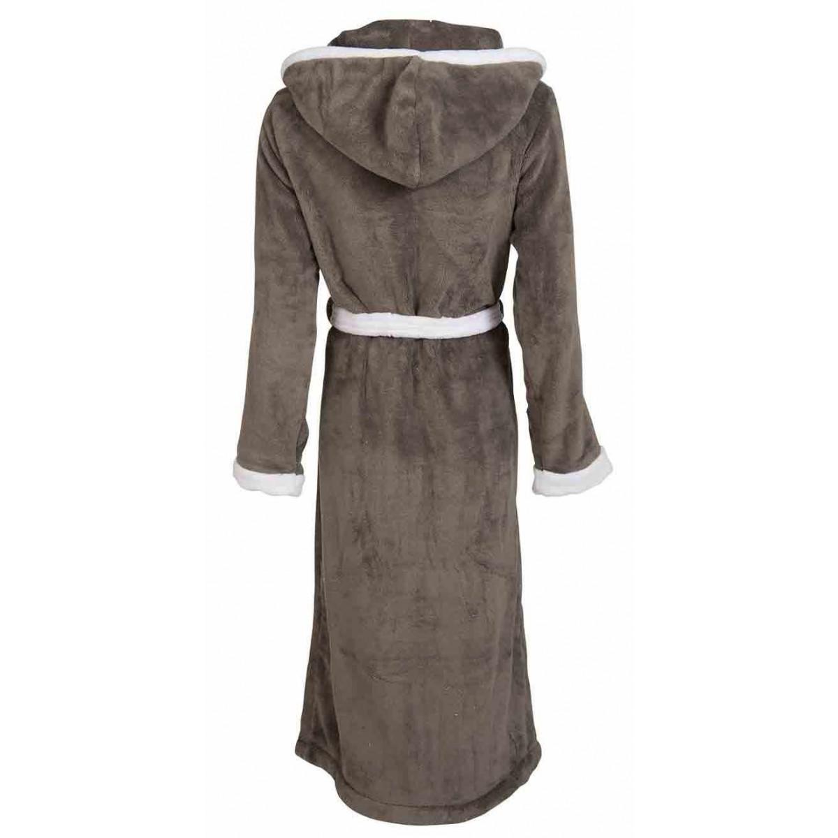 fleece badjas met capuchon