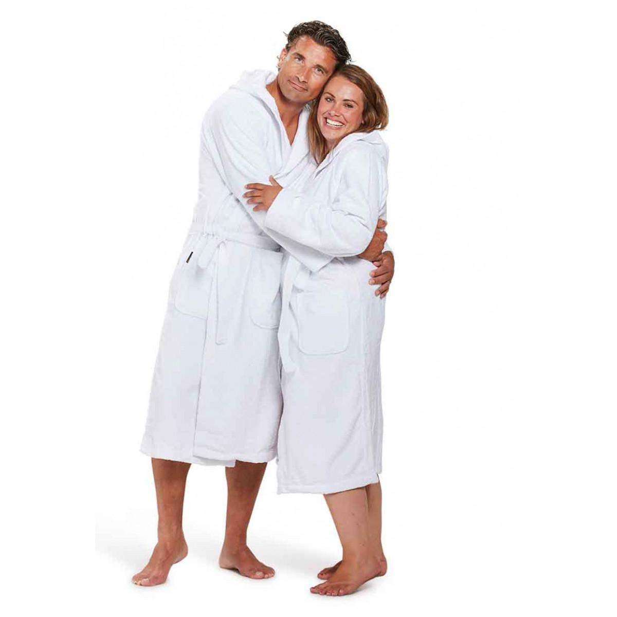 witte capuchon badjassen