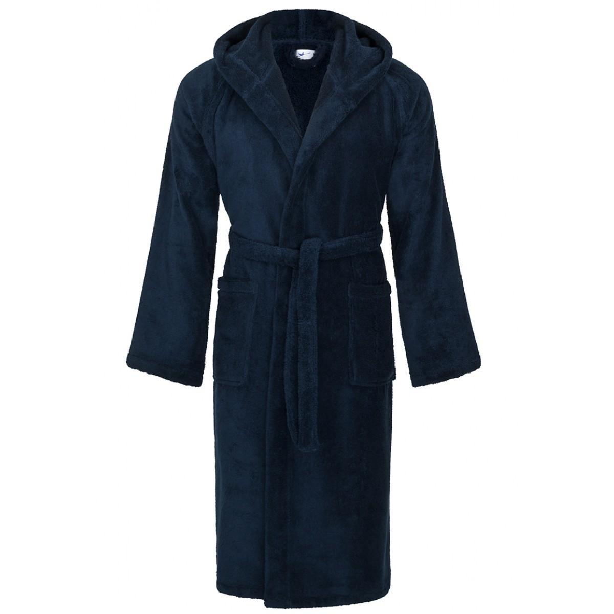 blauwe badjas badstof