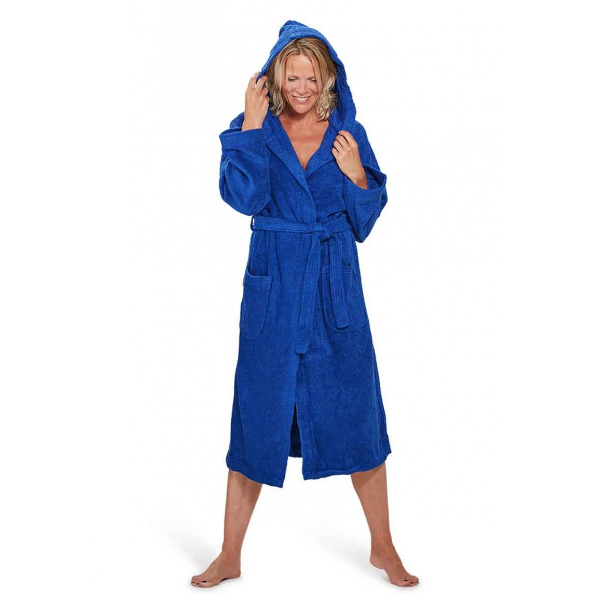 capuchon badjas dames kobaltblauw