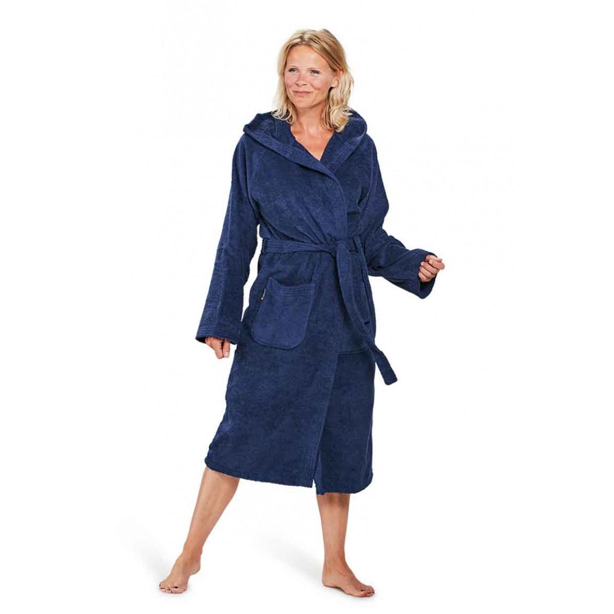 capuchon badjas dames marineblauw