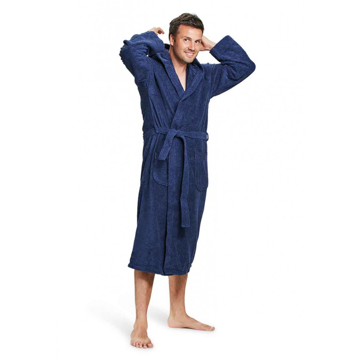 capuchon badjas heren marineblauw