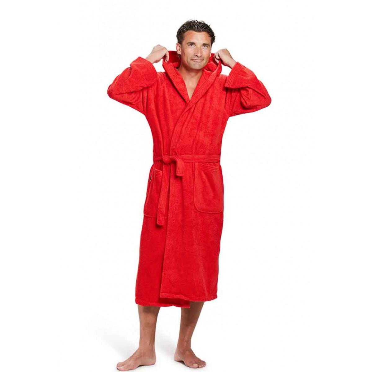 capuchon badjas rood badrock