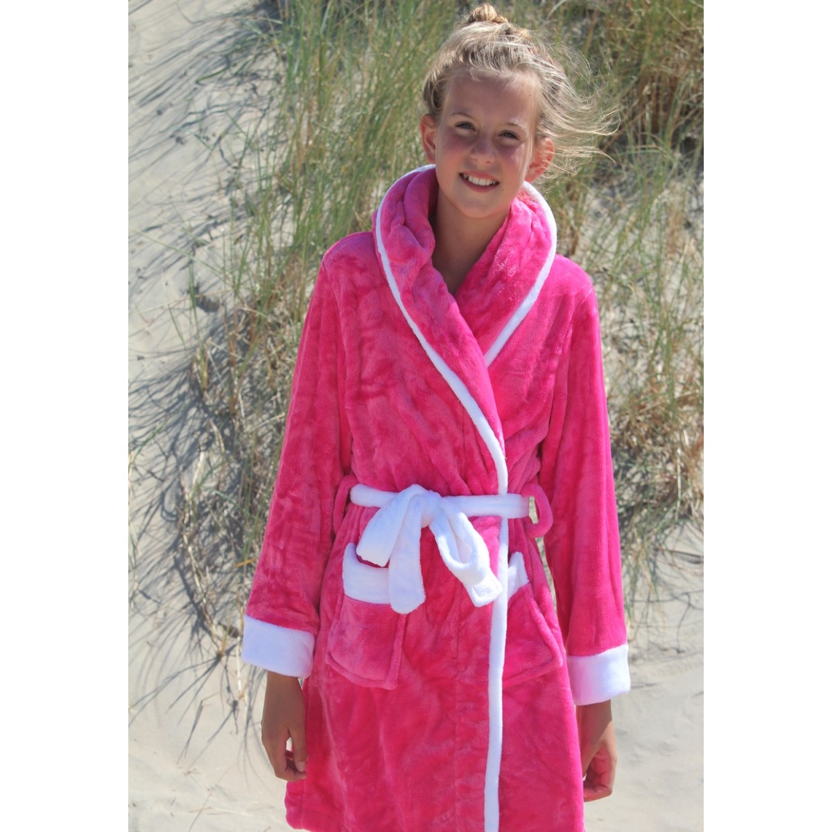 Roze fleece kinderbadjas