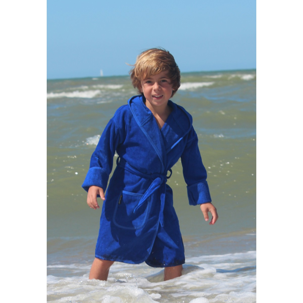 Kobaltblauwe kinderbadjas
