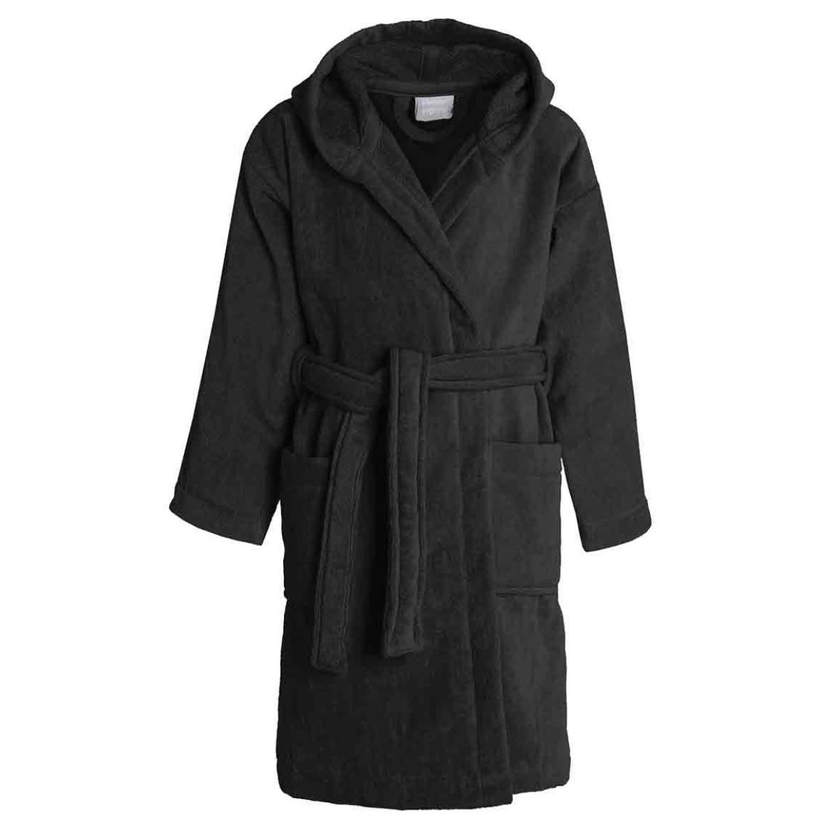 zwarte kinderbadjas met capuchon