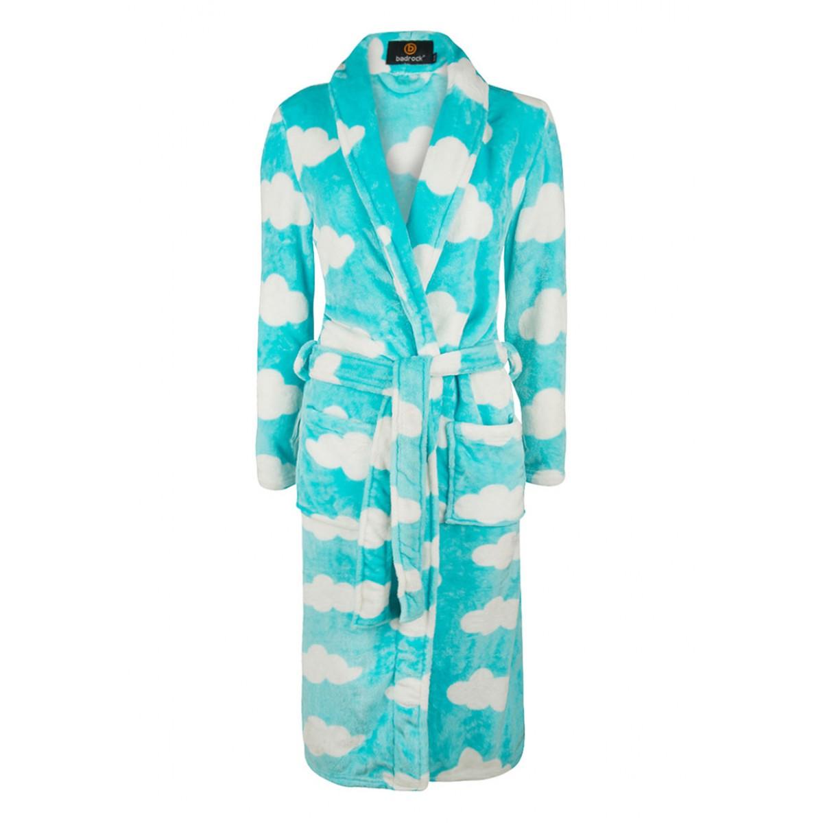 Lichtblauwe kinderbadjas met wolkjes
