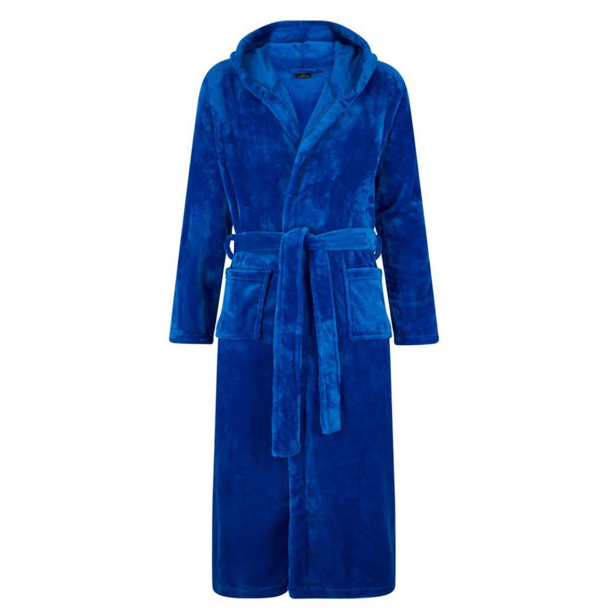 koningsblauwe fleece badjas met capuchon