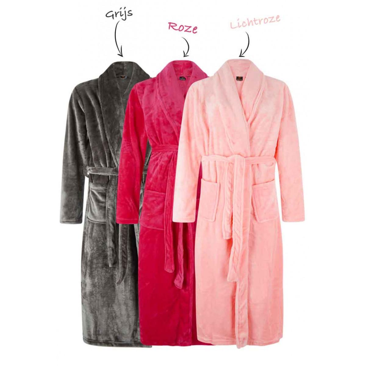 Fleece badjassen borduren sjaalkraag