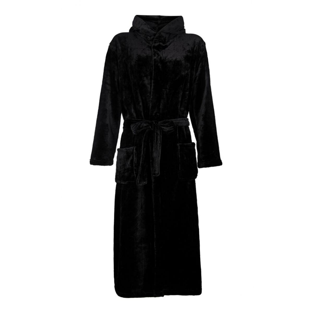 zwarte fleece badjas met capuchon