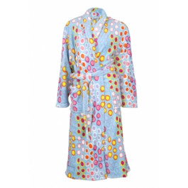 Badjas met bolletjes - blauwe badjas