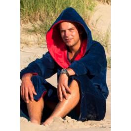 Marineblauwe badjas capuchon