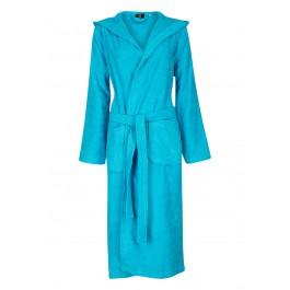 Aqua blauwe badjas met capuchon
